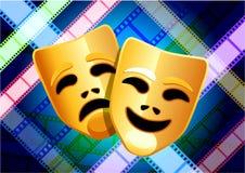 Máscaras da comédia e da tragédia no fundo do carretel de película Fotos de Stock