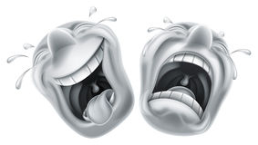 Máscaras da tragédia da comédia do teatro Fotografia de Stock