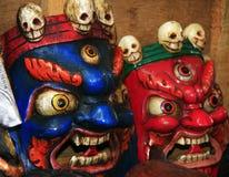 Máscaras de la adoración del culto del Himalaya Foto de archivo