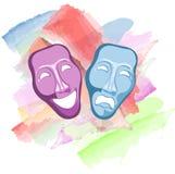 máscaras de la comedia y de la tragedia del teatro Fotos de archivo libres de regalías