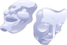 Máscaras de la comedia y de la tragedia del teatro. stock de ilustración