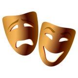 Máscaras de la comedia y de la tragedia del vector Fotografía de archivo libre de regalías