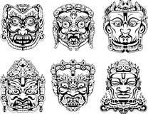 Máscaras de la deidad hindú Fotos de archivo libres de regalías