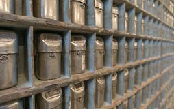 Máscaras de la mina del vintage, opinión de perspectiva Imagen de archivo libre de regalías