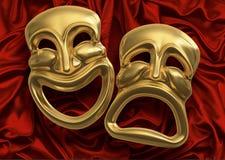 Máscaras de la tragedia de la comedia Imagen de archivo libre de regalías