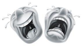 Máscaras de la tragedia de la comedia del teatro ilustración del vector