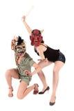 Máscaras de las mujeres de Víspera de Todos los Santos Imágenes de archivo libres de regalías