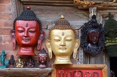 Máscaras de madeira antigas da Buda Imagens de Stock Royalty Free