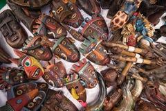 Máscaras de madeira nativas em Equador Imagem de Stock Royalty Free