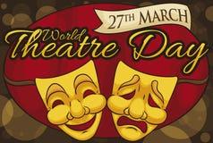 Máscaras de oro en una noche mágica del día del teatro del mundo, ejemplo del vector libre illustration