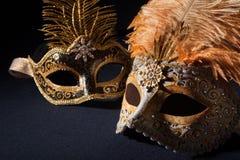 Máscaras de prata e pretas do carnaval Fotos de Stock Royalty Free