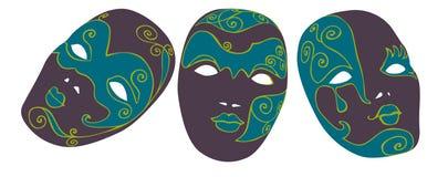 Máscaras del carnaval ilustración del vector