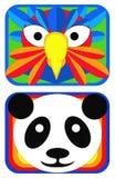 Máscaras del pájaro y de la panda Foto de archivo