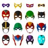 Máscaras del superhéroe fijadas Imágenes de archivo libres de regalías