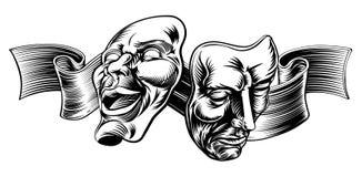 Máscaras del teatro ilustración del vector