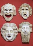 Máscaras del teatro de Grecia antigua Imagen de archivo libre de regalías