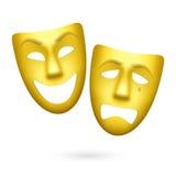 Máscaras del theatrical de la comedia y de la tragedia Imagen de archivo libre de regalías