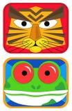 Máscaras del tigre y de la rana Imagen de archivo libre de regalías
