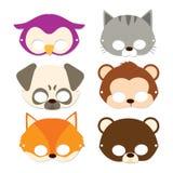 Máscaras do animal do carnaval ilustração stock