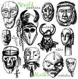 Máscaras do mundo Imagem de Stock