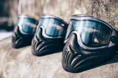 Máscaras do Paintball com vidros close up, ninguém imagem de stock