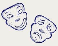 Máscaras do teatro da comédia e da tragédia Fotos de Stock Royalty Free