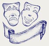 Máscaras do teatro da comédia e da tragédia Foto de Stock Royalty Free