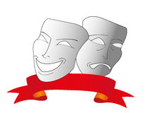 Máscaras do teatro do vetor com fita vermelha Imagem de Stock