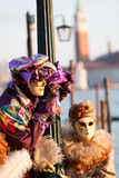 Máscaras en carnaval, plaza San Marco, Venecia, Italia Imagen de archivo libre de regalías