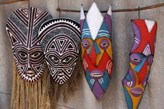 Máscaras en Zimbabwe Imagenes de archivo