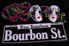 Máscaras. Granos y calle de Bourbon Foto de archivo libre de regalías