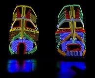 Máscaras indianas de néon de incandescência Fotografia de Stock