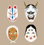 Máscaras japonesas tradicionais do teatro Ilustração Stock