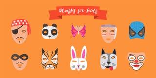 Máscaras para los niños con el ejemplo del vector de los animales ilustración del vector