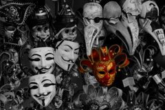 Máscaras peculiares en Venecia Imágenes de archivo libres de regalías