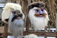 Máscaras rumanas tradicionales del carnaval Fotos de archivo libres de regalías