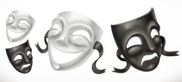 Máscaras teatrais Ícone do vetor da comédia e da tragédia 3d ilustração royalty free