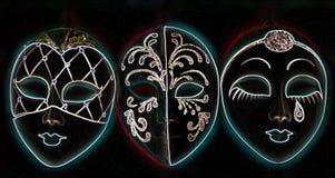 Máscaras venecianas que brillan intensamente stock de ilustración