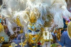 Máscaras Venetian brancas Veneza Itália Fotografia de Stock