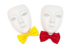 Máscaras y pajaritas aisladas Fotos de archivo