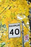 Máximo 40 kilómetros Fotografía de archivo