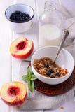 Mâche de granola et d'avoine avec les myrtilles fraîches, Image stock