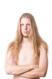 Mâle aux cheveux longs Image stock