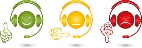 Mâle avec les écouteurs, le visage et la main, smiley, évaluant illustration libre de droits