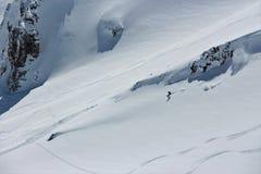 Mâle déchiquetant vers le haut de la montagne Image libre de droits