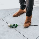 Mâle dans des bottes de cowboy se tenant sur une branche rose blanche simple images stock