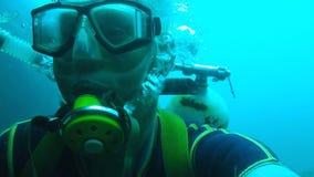 Mâle dans l'équipement de plongée se déplaçant sous l'eau, sport extrême récréationnel, amateur banque de vidéos