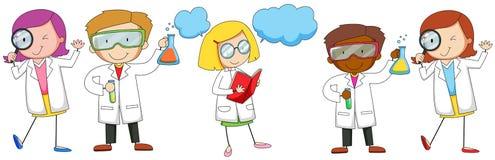 Mâle de scientifiques et expérience faisante femelle illustration libre de droits