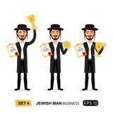 Mâle de sourire excité par succès juif de gagnant d'homme d'affaires soulevant le prix de trophée, la médaille et la bande dessin illustration libre de droits