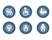 Mâle de toilettes, femelle, signe changeant de bébé, signe d'handicap Images stock